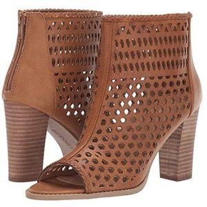 Tan Cut-Out Open Toe Zip Back Heel Boots NIB 9
